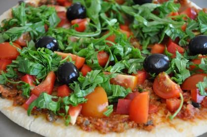 Pizza Pesto mit Rucola